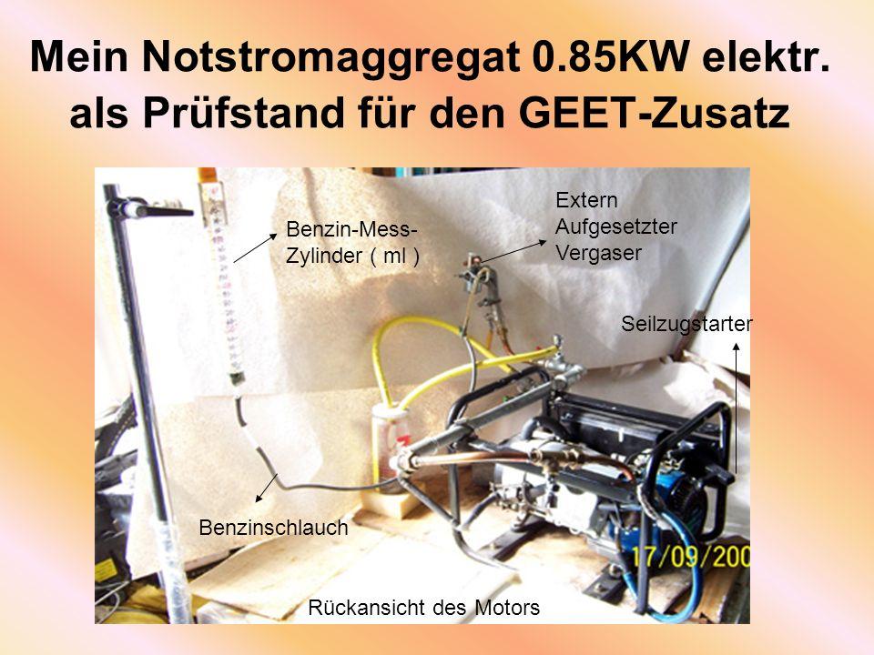 Mein Notstromaggregat 0.85KW elektr. als Prüfstand für den GEET-Zusatz