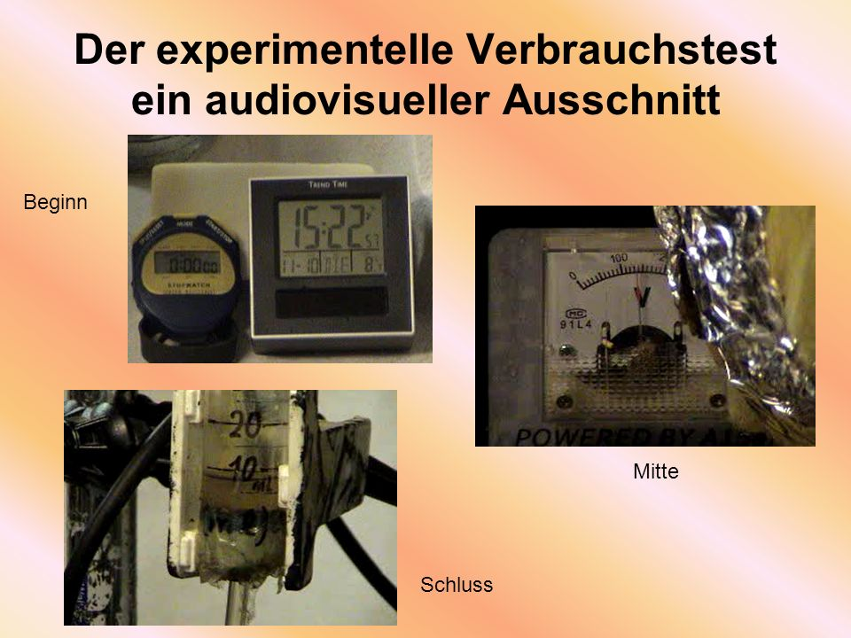 Der experimentelle Verbrauchstest ein audiovisueller Ausschnitt