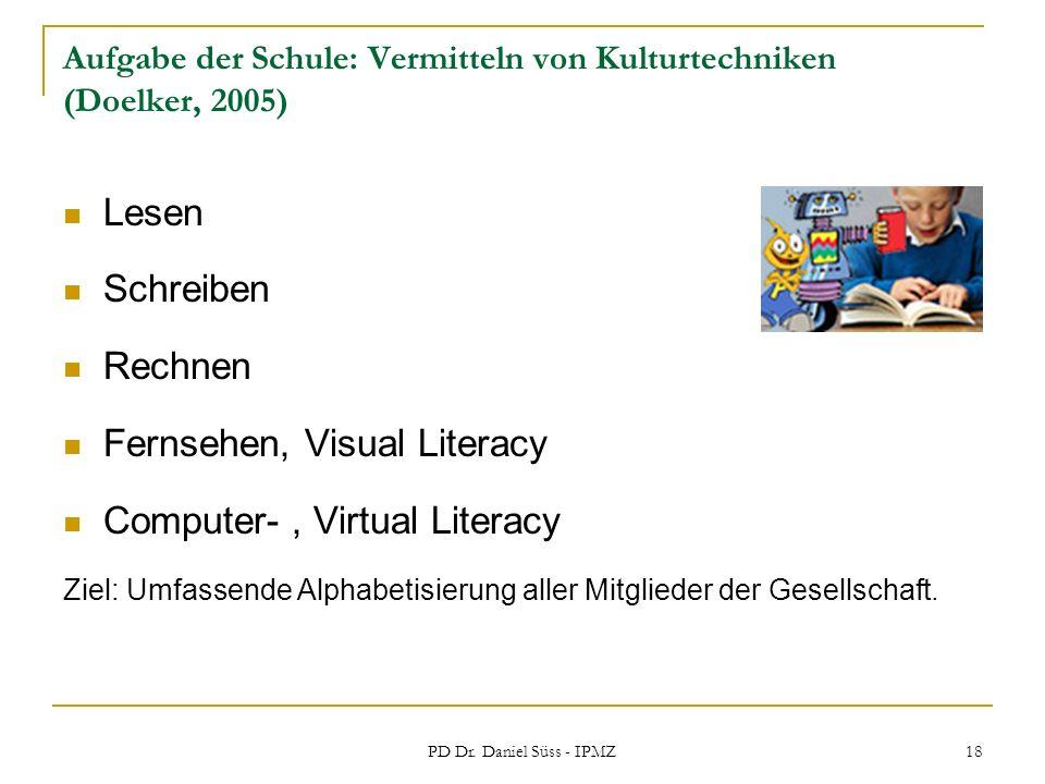 Aufgabe der Schule: Vermitteln von Kulturtechniken (Doelker, 2005)