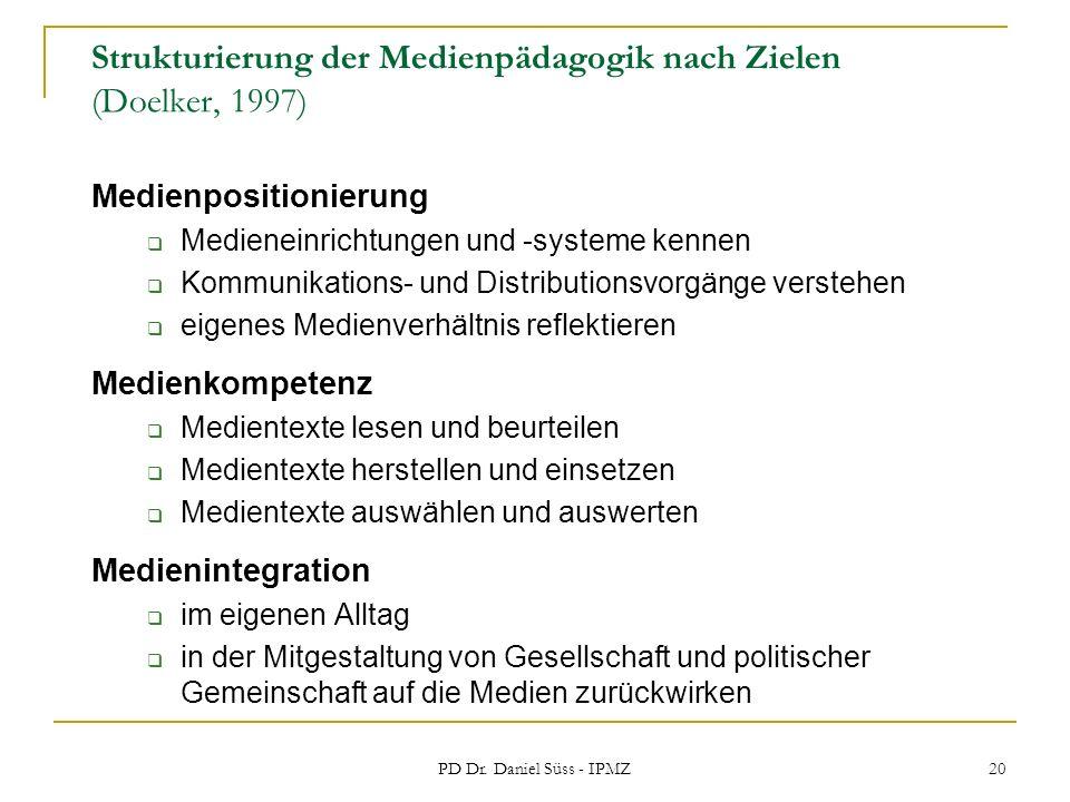 Strukturierung der Medienpädagogik nach Zielen (Doelker, 1997)