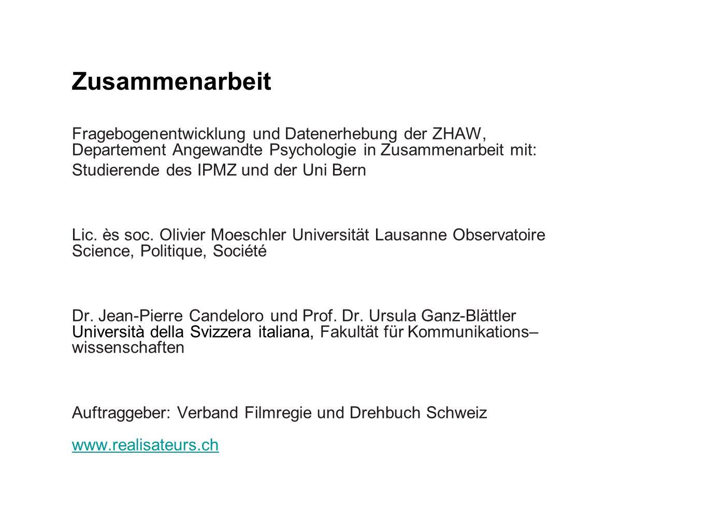 Zusammenarbeit Fragebogenentwicklung und Datenerhebung der ZHAW, Departement Angewandte Psychologie in Zusammenarbeit mit: