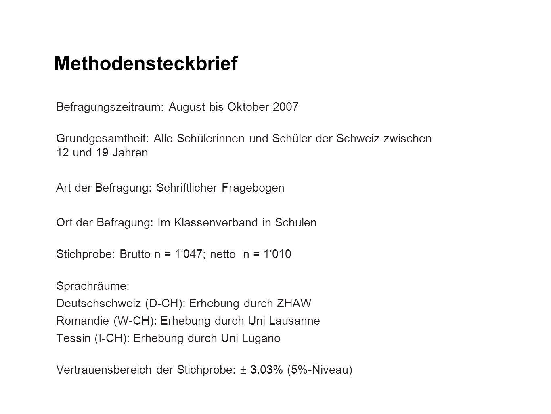 Methodensteckbrief Befragungszeitraum: August bis Oktober 2007