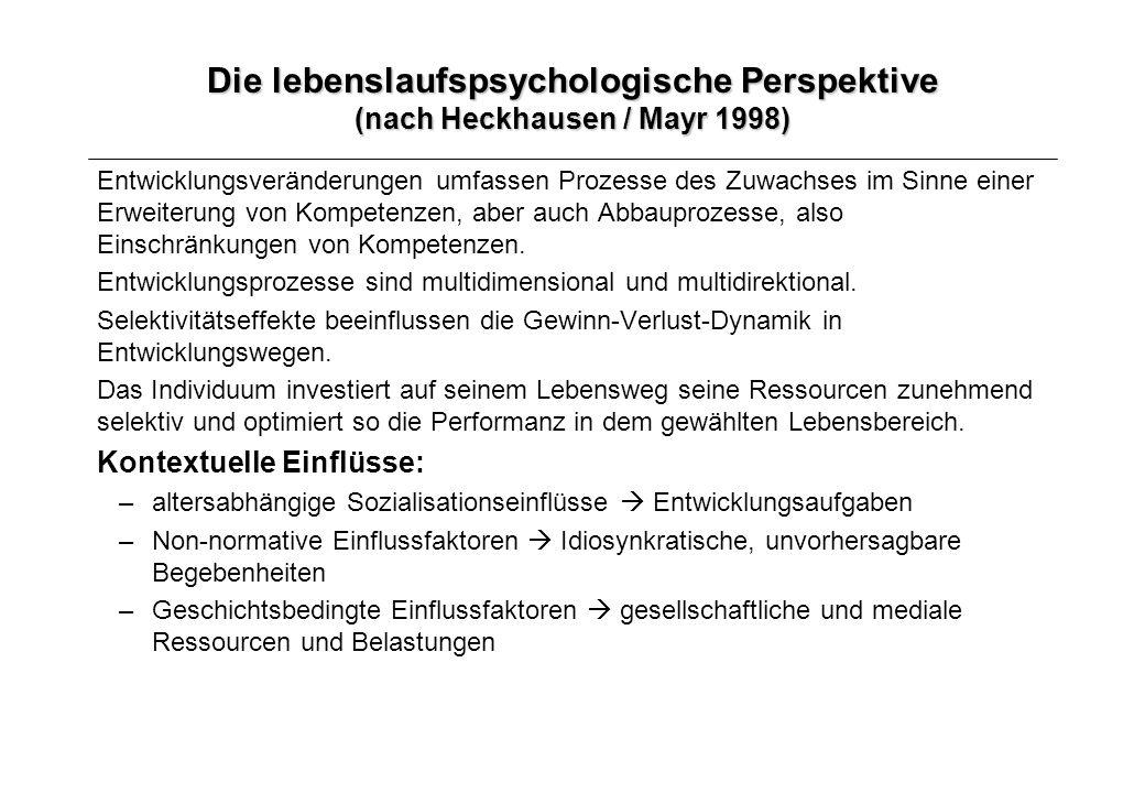 Die lebenslaufspsychologische Perspektive (nach Heckhausen / Mayr 1998)