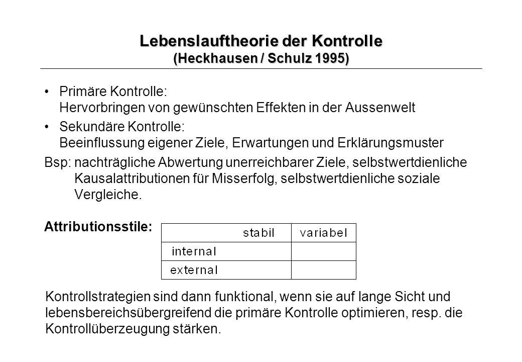 Lebenslauftheorie der Kontrolle (Heckhausen / Schulz 1995)