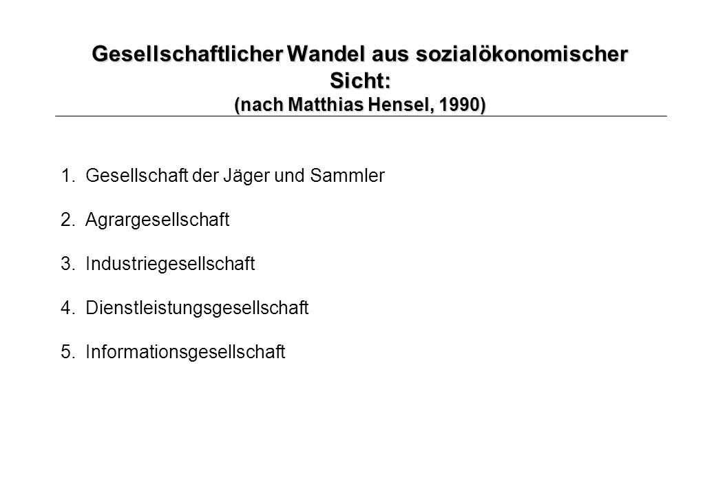 Gesellschaftlicher Wandel aus sozialökonomischer Sicht: (nach Matthias Hensel, 1990)