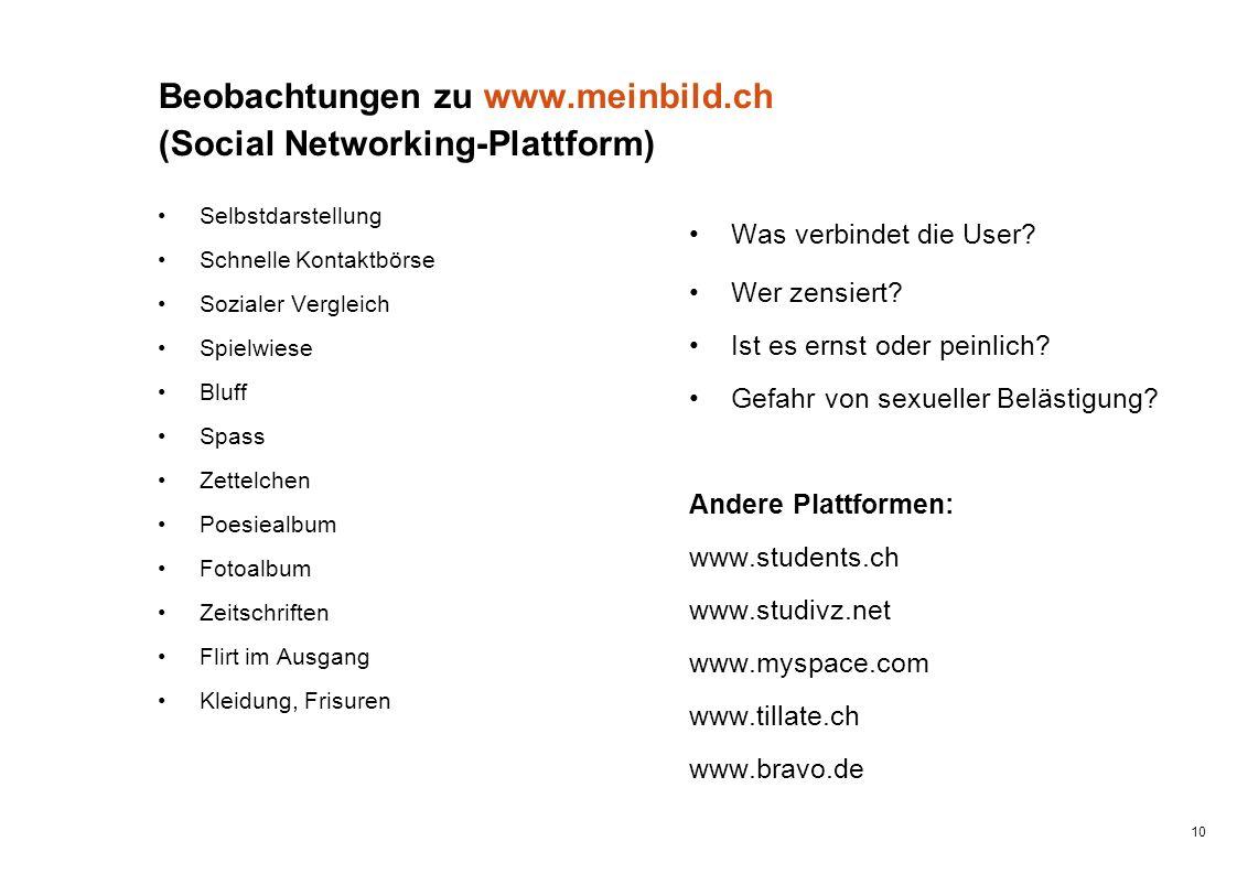 Beobachtungen zu www.meinbild.ch (Social Networking-Plattform)