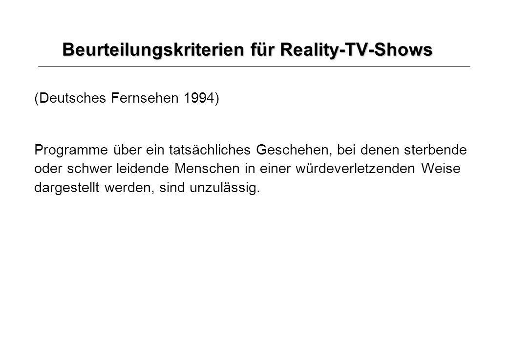 Beurteilungskriterien für Reality-TV-Shows