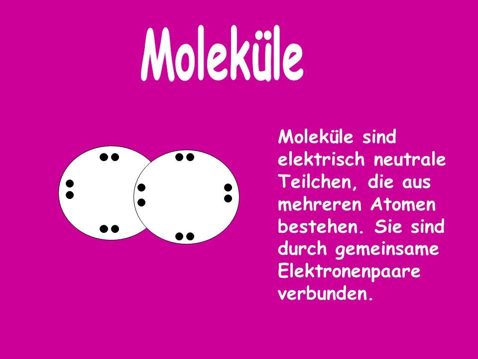 Moleküle Moleküle sind elektrisch neutrale Teilchen, die aus mehreren Atomen bestehen.