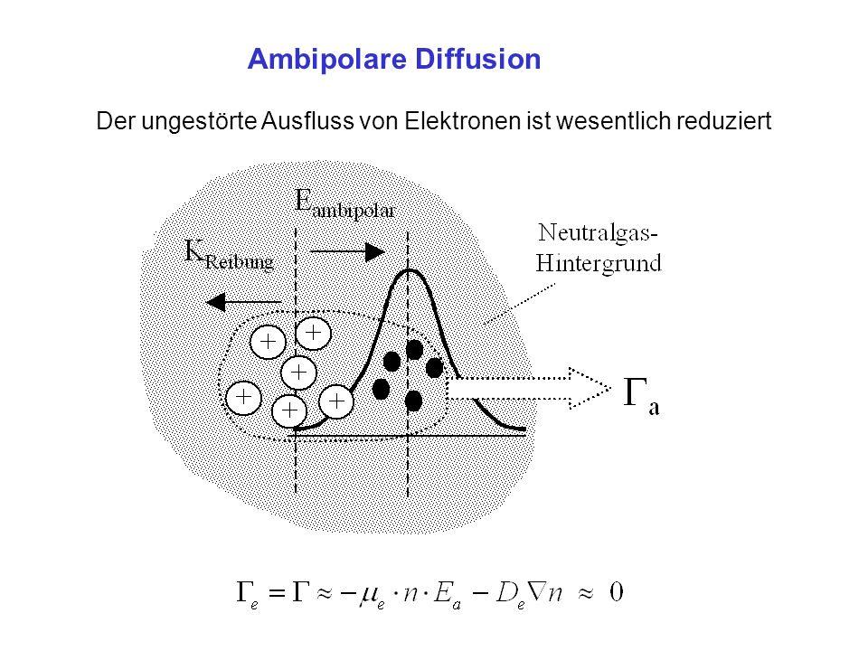 Ambipolare Diffusion Der ungestörte Ausfluss von Elektronen ist wesentlich reduziert.