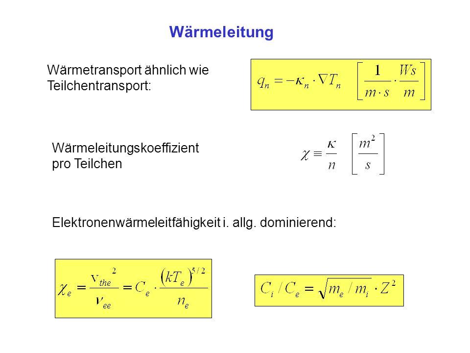 Wärmeleitung Wärmetransport ähnlich wie Teilchentransport: