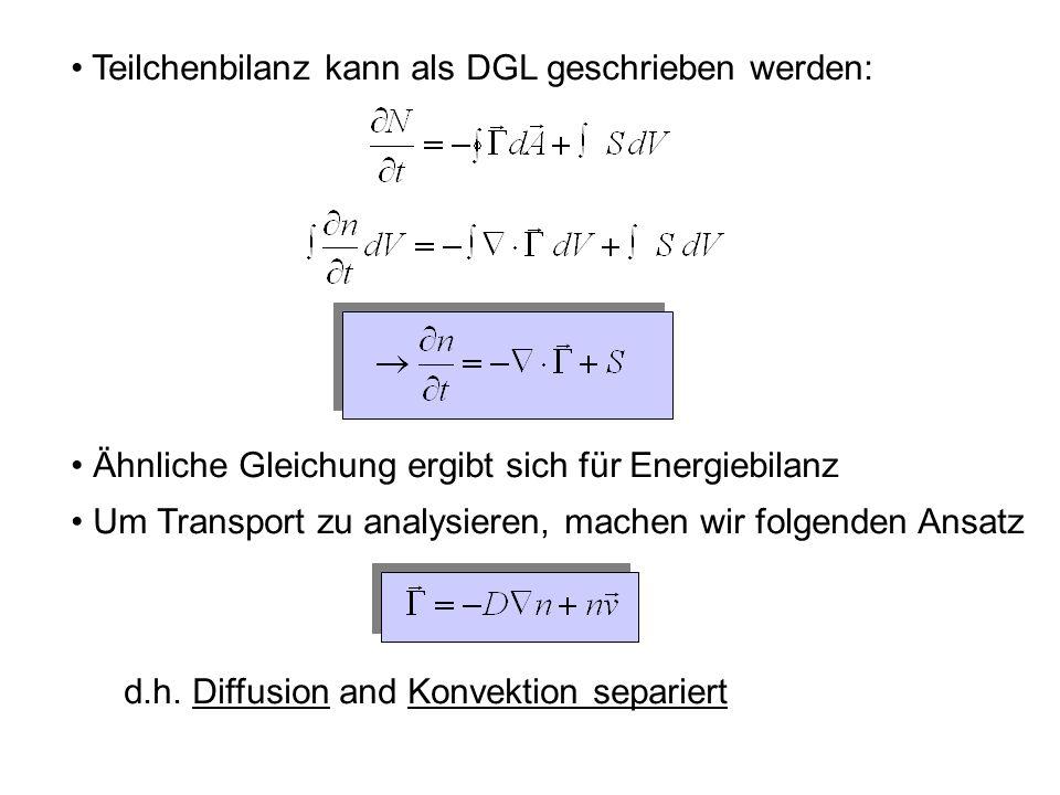 Teilchenbilanz kann als DGL geschrieben werden: