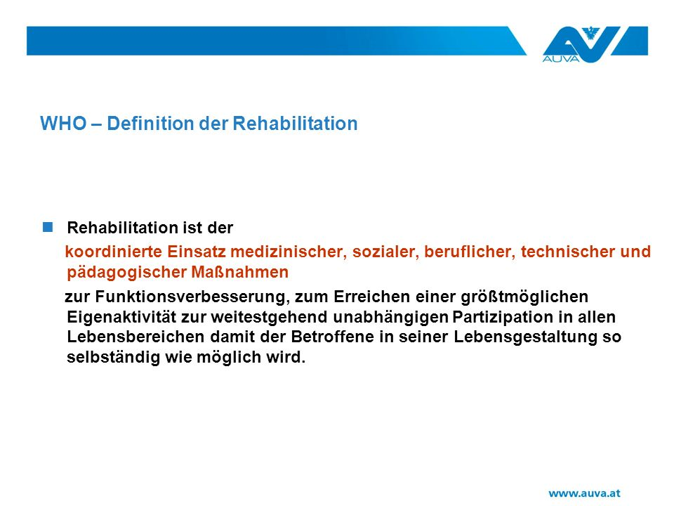 WHO – Definition der Rehabilitation