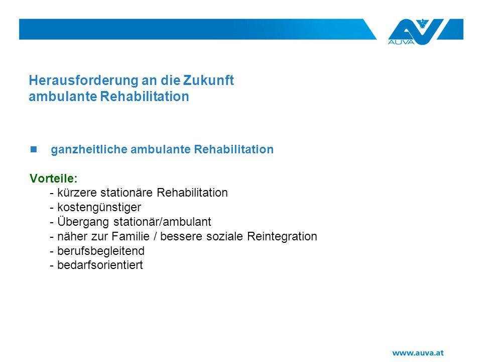 Herausforderung an die Zukunft ambulante Rehabilitation