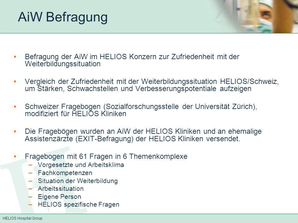 AiW Befragung Befragung der AiW im HELIOS Konzern zur Zufriedenheit mit der Weiterbildungssituation.