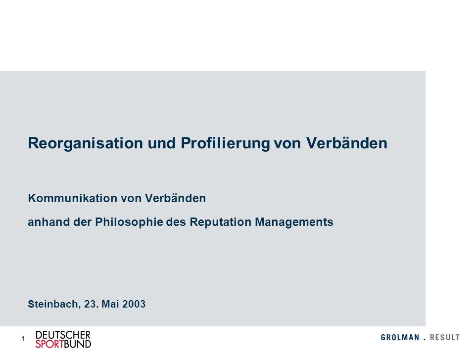 Reorganisation und Profilierung von Verbänden