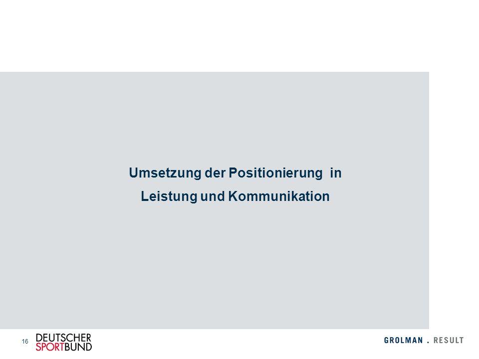 Umsetzung der Positionierung in Leistung und Kommunikation