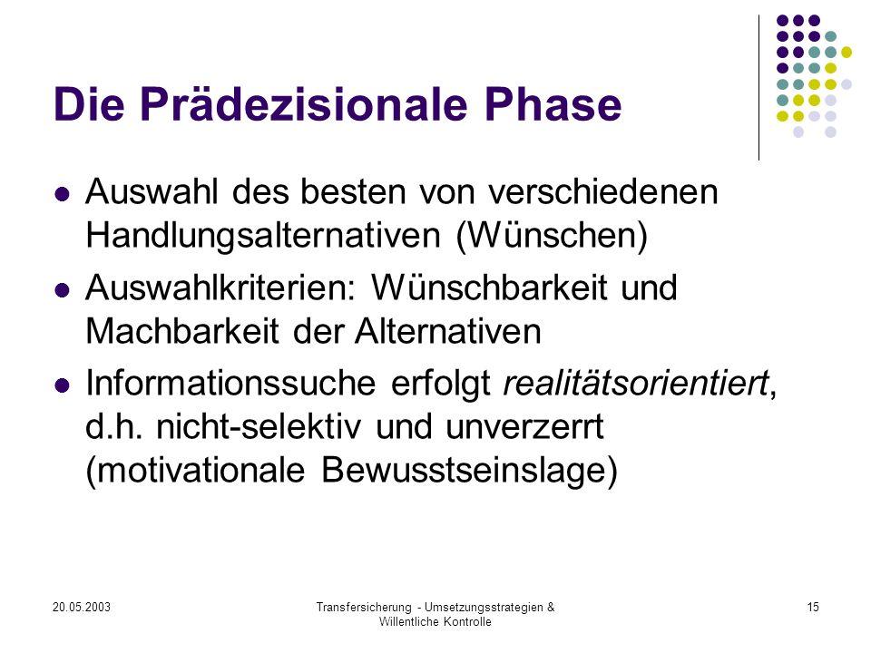 Die Prädezisionale Phase