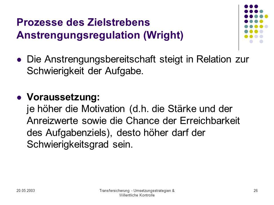 Prozesse des Zielstrebens Anstrengungsregulation (Wright)