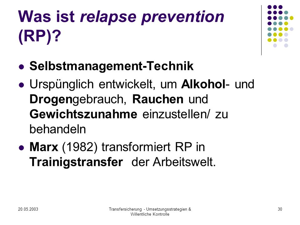 Was ist relapse prevention (RP)