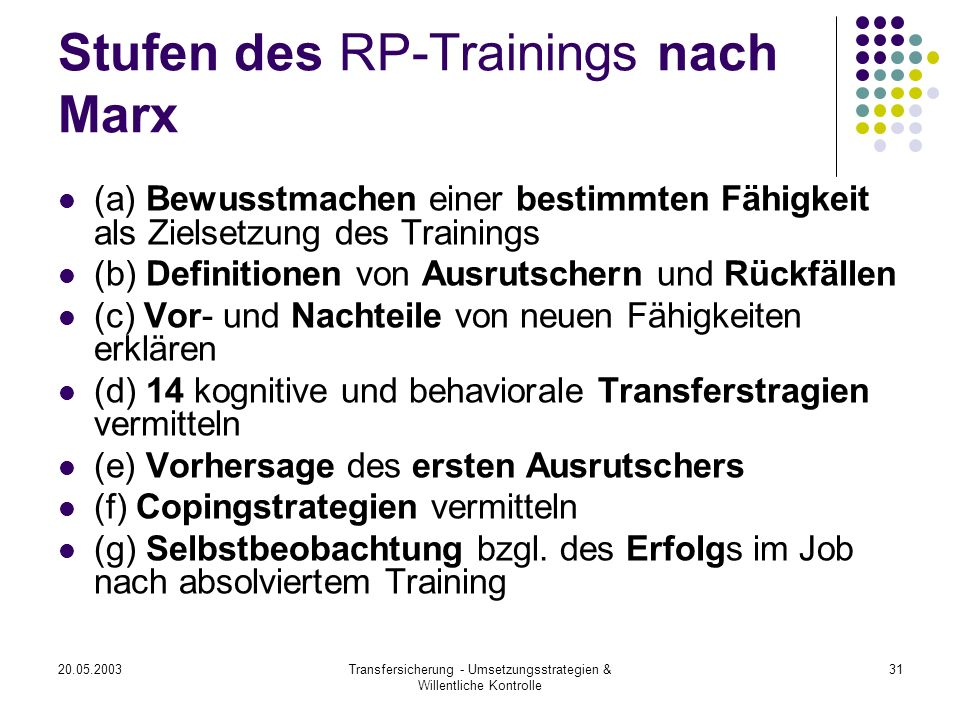 Stufen des RP-Trainings nach Marx