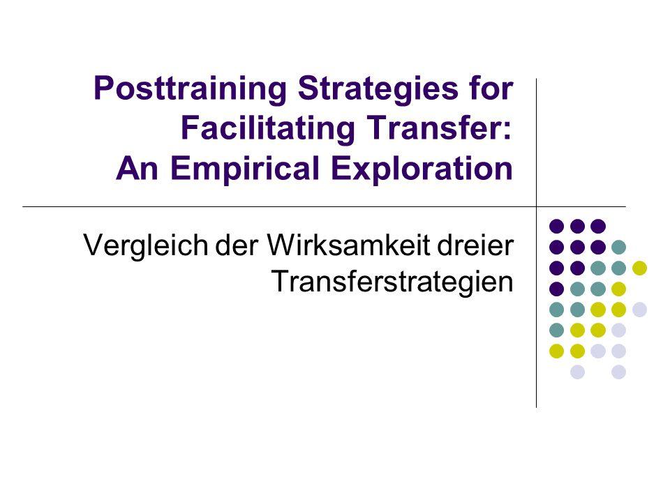 Vergleich der Wirksamkeit dreier Transferstrategien