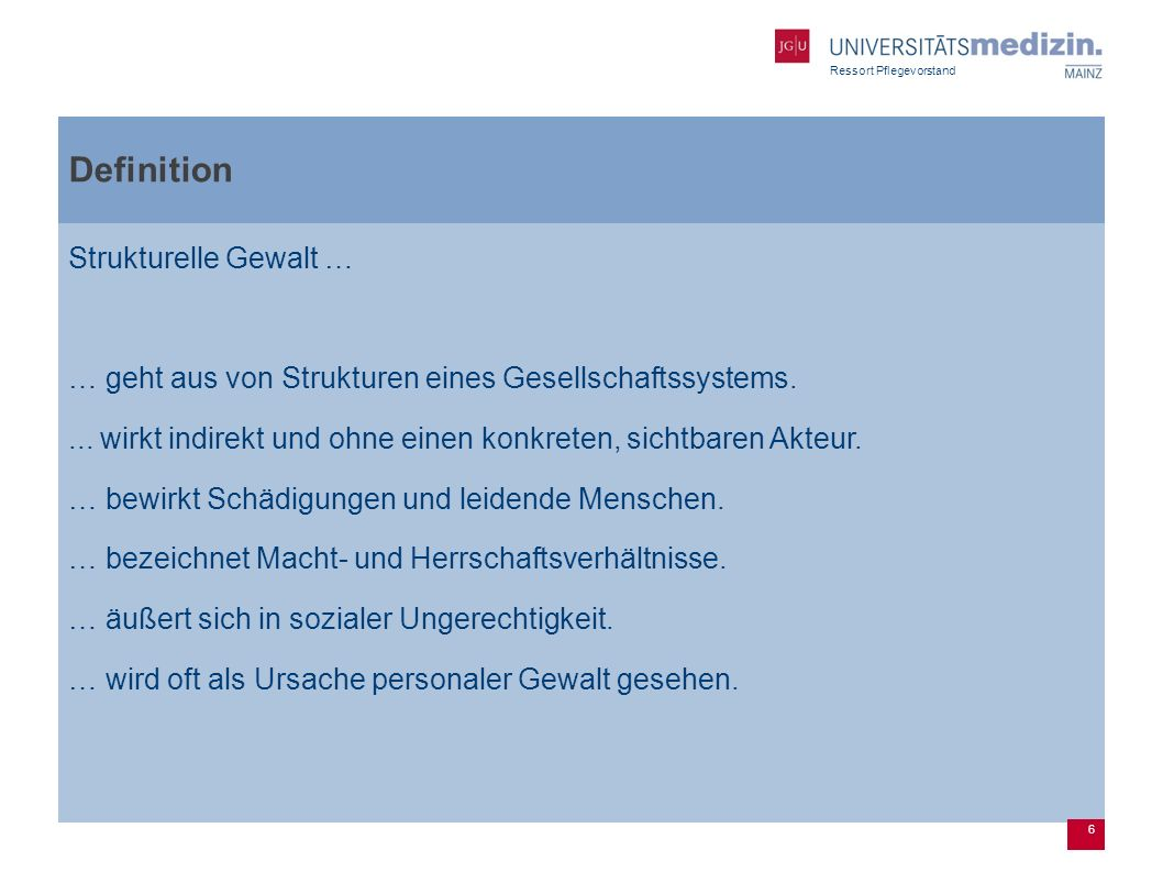 Definition Strukturelle Gewalt …
