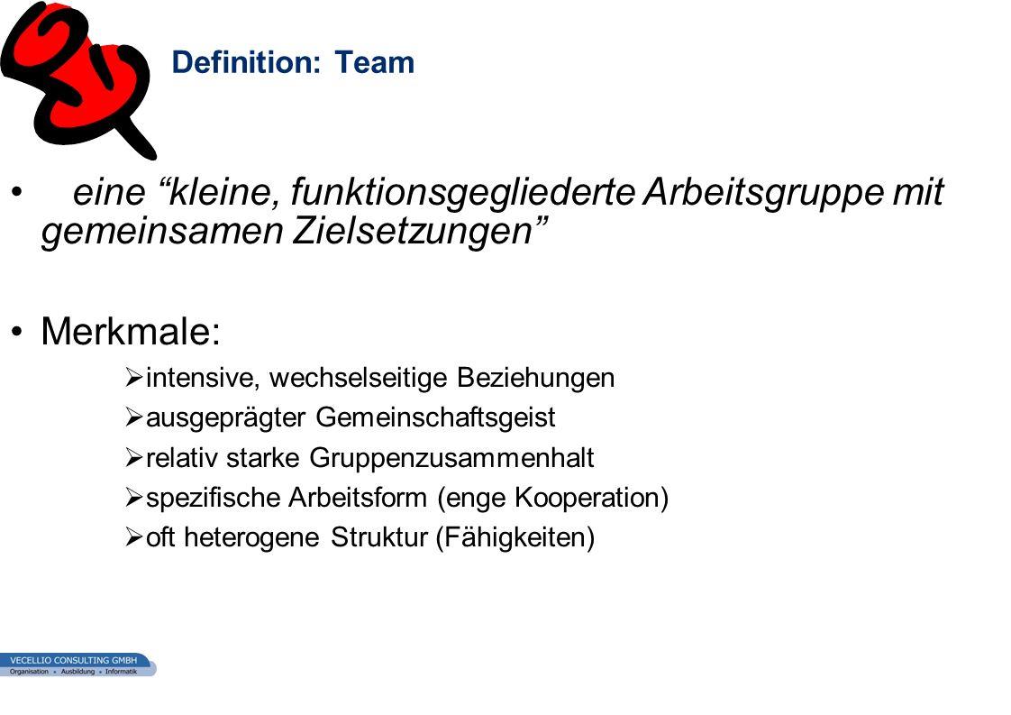 Definition: Team eine kleine, funktionsgegliederte Arbeitsgruppe mit gemeinsamen Zielsetzungen Merkmale: