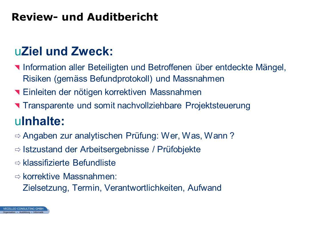 Ziel und Zweck: Inhalte: Review- und Auditbericht