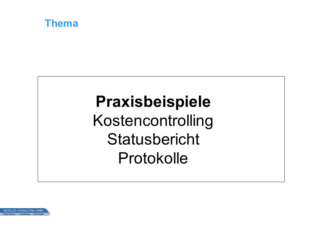 Thema Praxisbeispiele Kostencontrolling Statusbericht Protokolle