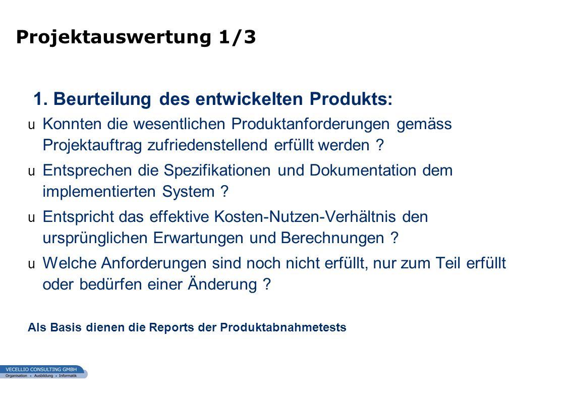 1. Beurteilung des entwickelten Produkts: