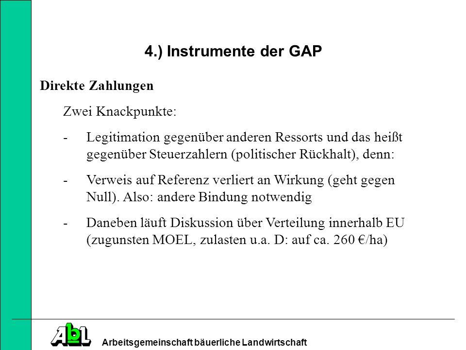 4.) Instrumente der GAP Direkte Zahlungen Zwei Knackpunkte: