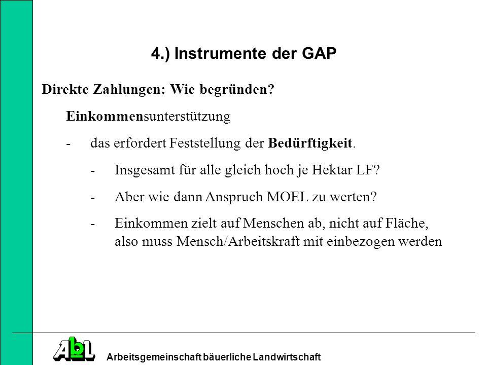 4.) Instrumente der GAP Direkte Zahlungen: Wie begründen