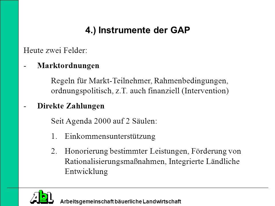 4.) Instrumente der GAP Heute zwei Felder: Marktordnungen