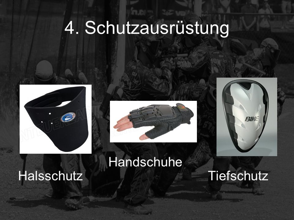 4. Schutzausrüstung Handschuhe Halsschutz Tiefschutz