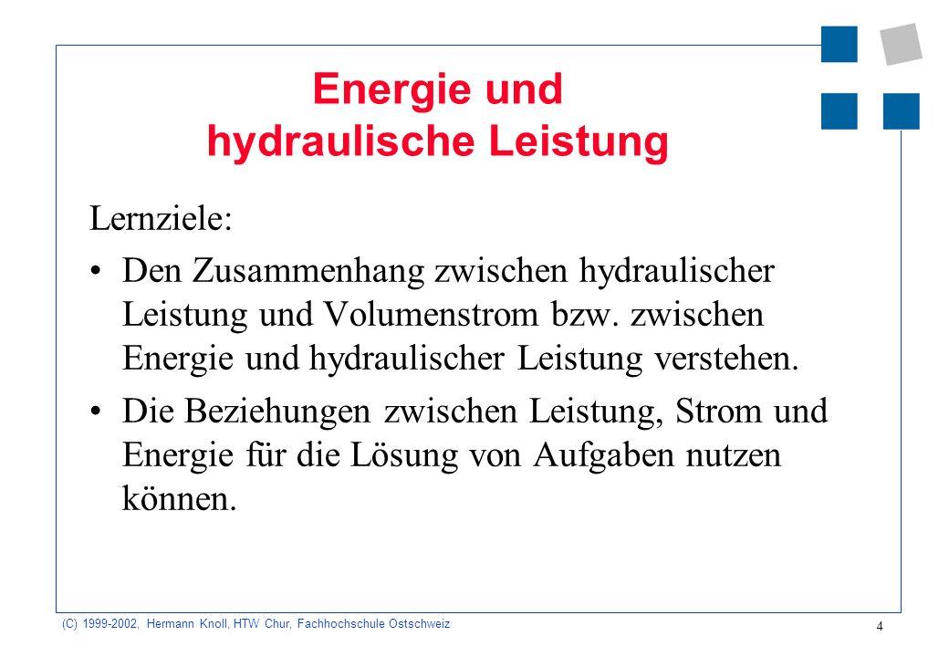 Energie und hydraulische Leistung