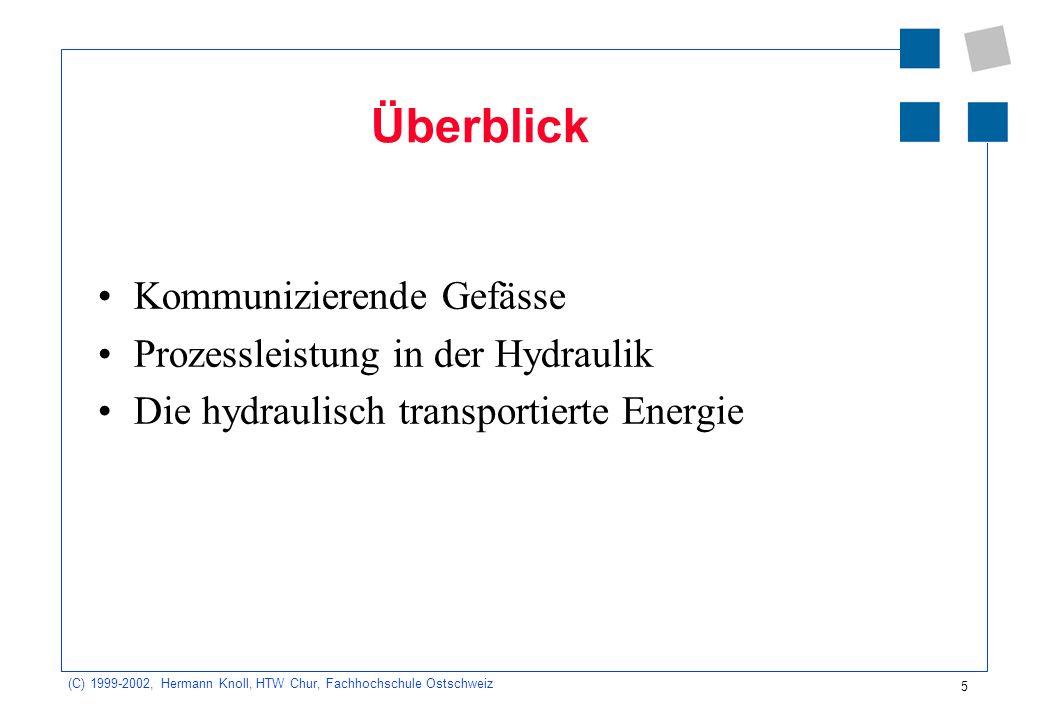 Überblick Kommunizierende Gefässe Prozessleistung in der Hydraulik