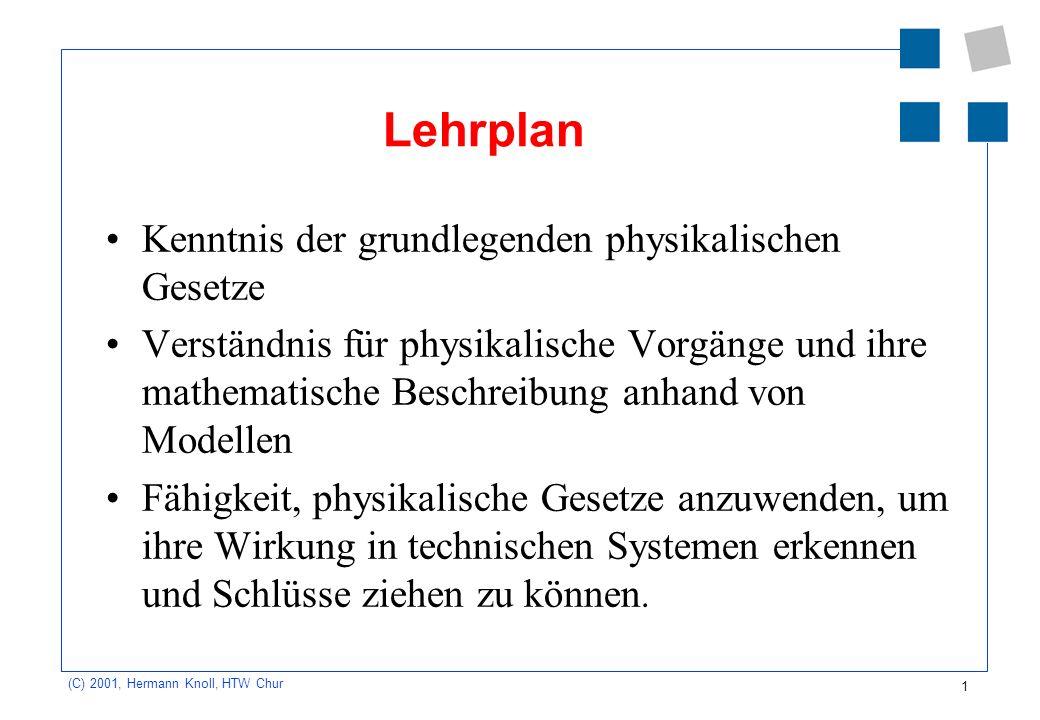 Lehrplan Kenntnis der grundlegenden physikalischen Gesetze