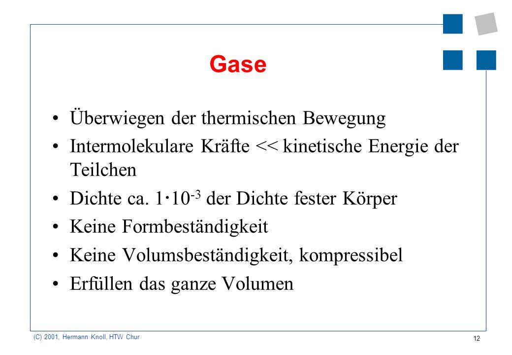 Gase Überwiegen der thermischen Bewegung