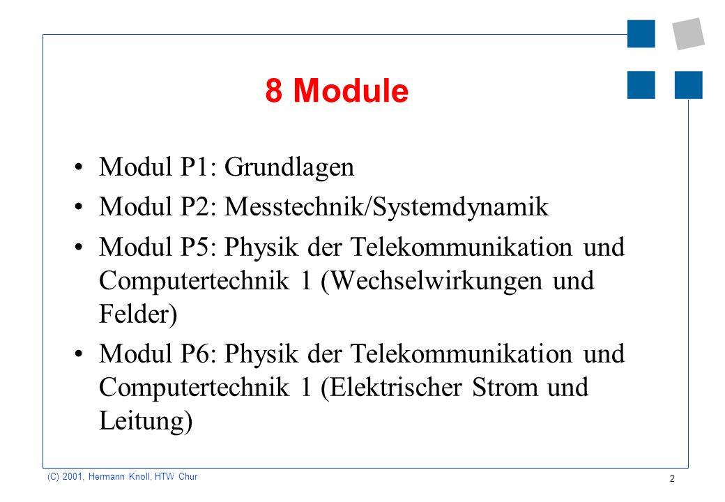 8 Module Modul P1: Grundlagen Modul P2: Messtechnik/Systemdynamik
