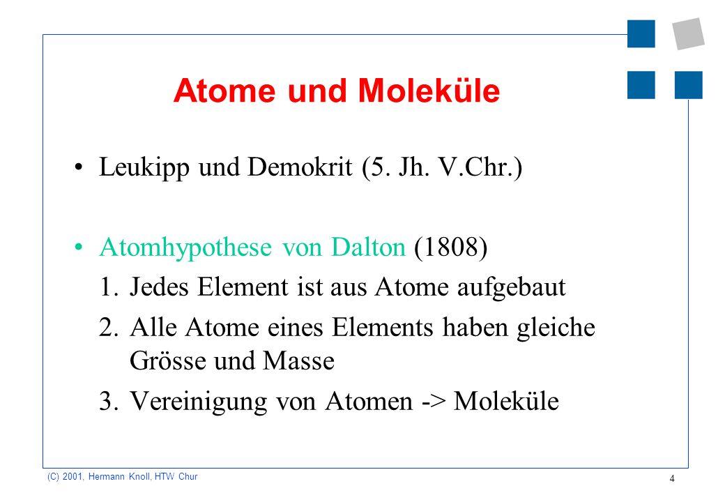 Atome und Moleküle Leukipp und Demokrit (5. Jh. V.Chr.)