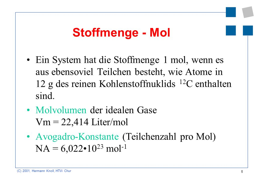 Stoffmenge - Mol