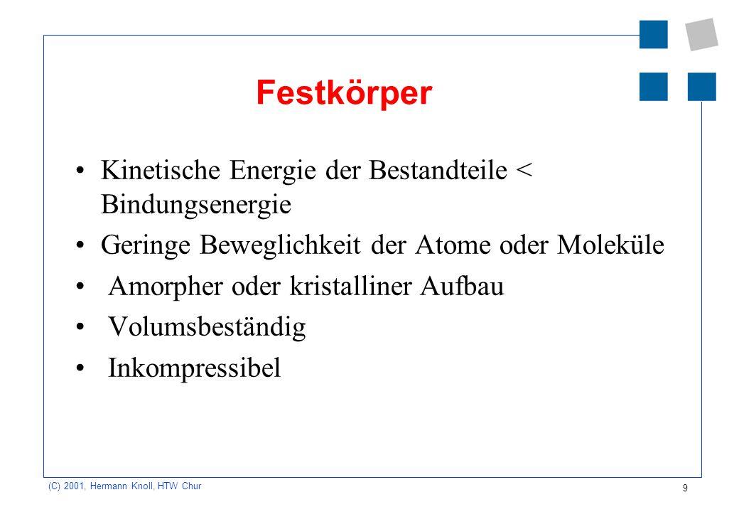 Festkörper Kinetische Energie der Bestandteile < Bindungsenergie