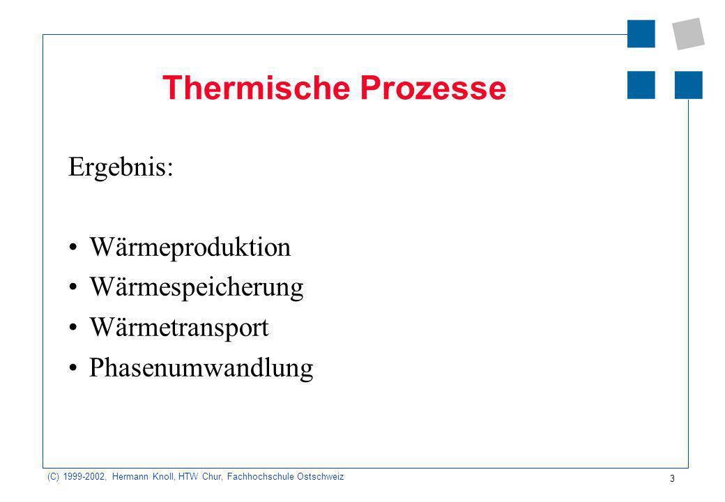 Thermische Prozesse Ergebnis: Wärmeproduktion Wärmespeicherung