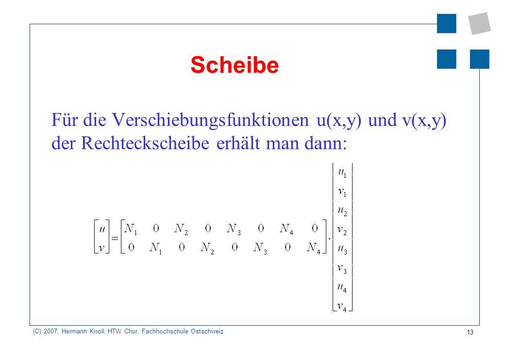 Scheibe Für die Verschiebungsfunktionen u(x,y) und v(x,y) der Rechteckscheibe erhält man dann: