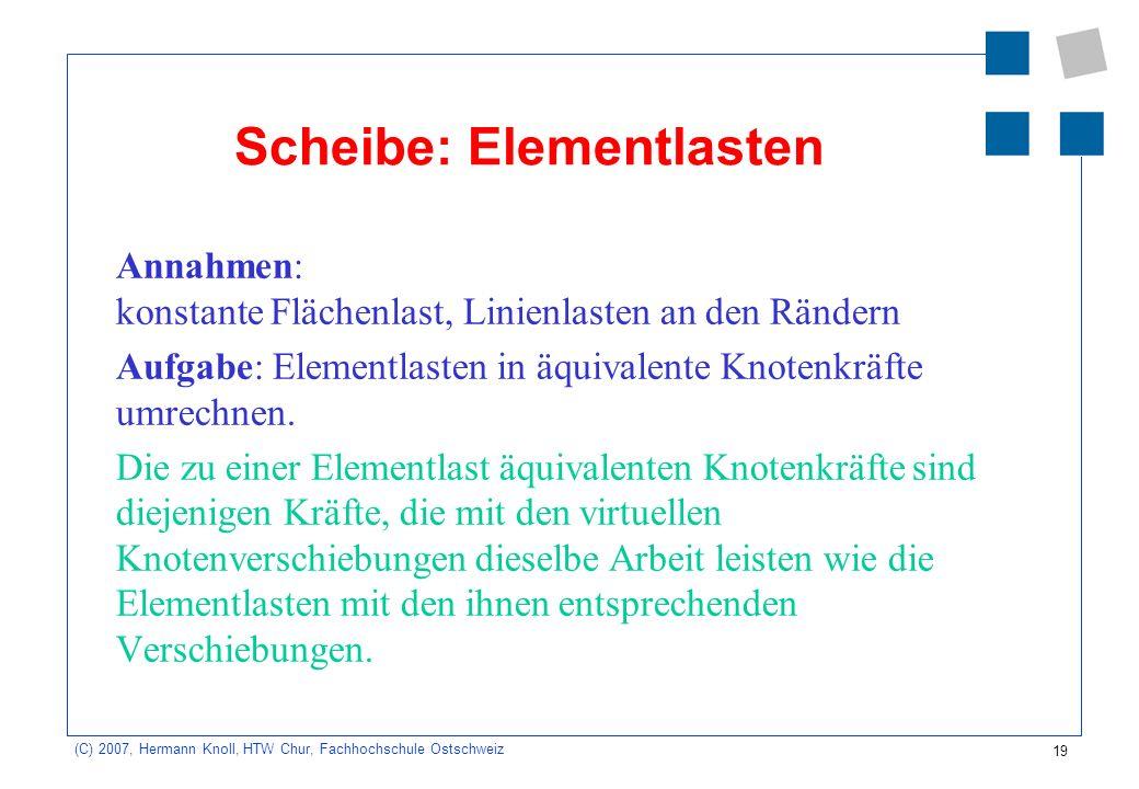 Scheibe: Elementlasten
