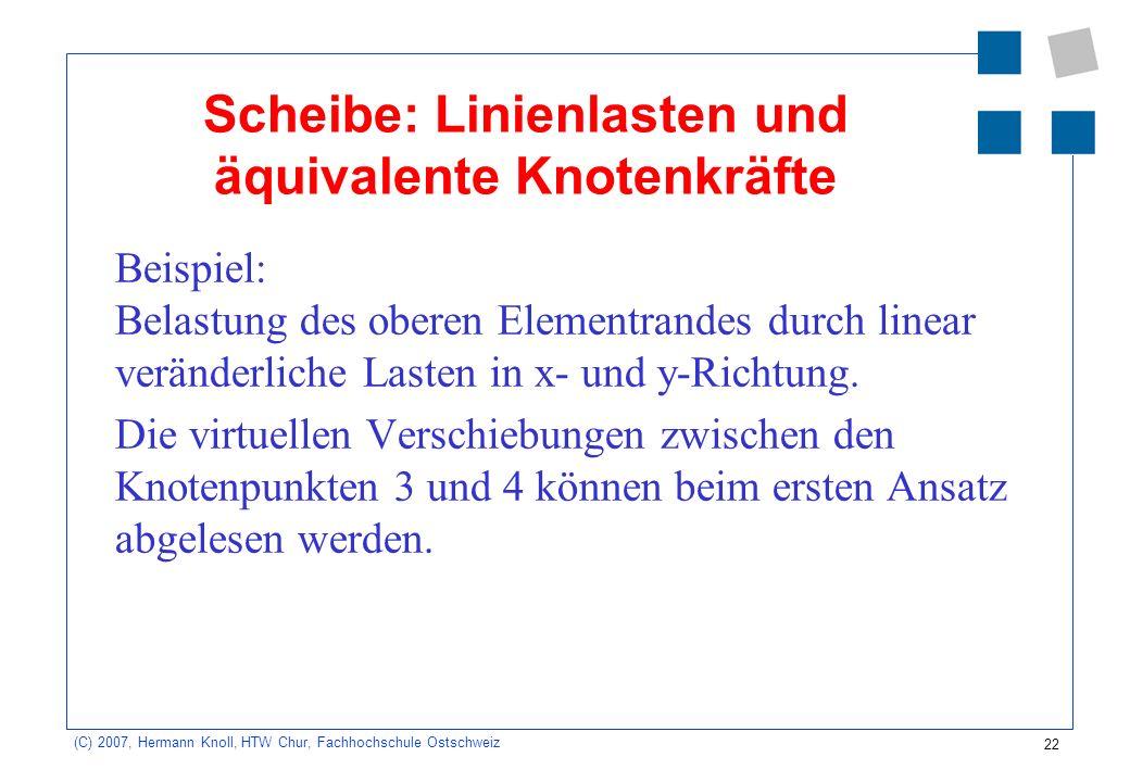 Scheibe: Linienlasten und äquivalente Knotenkräfte