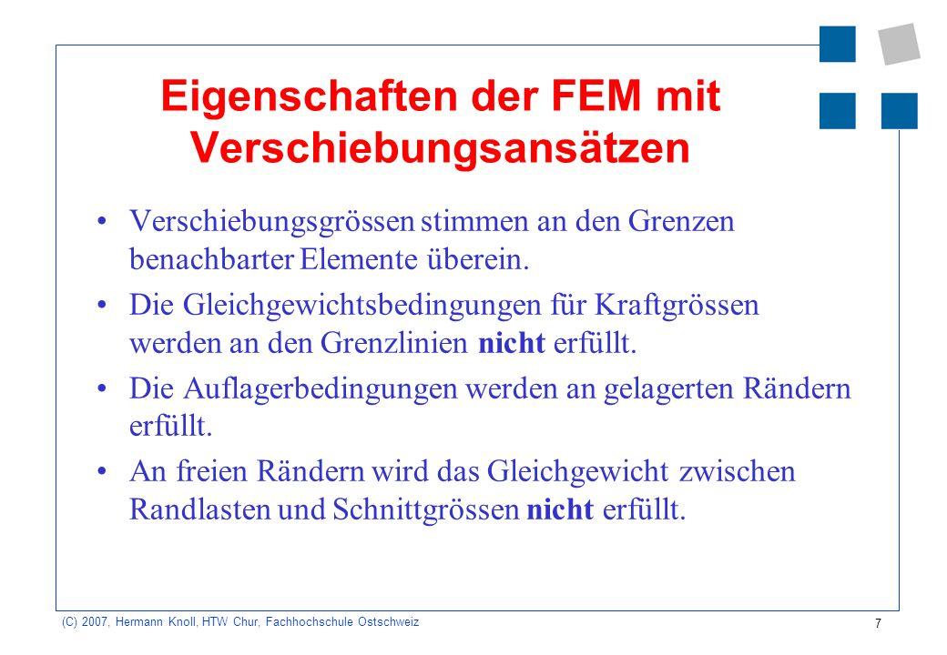 Eigenschaften der FEM mit Verschiebungsansätzen