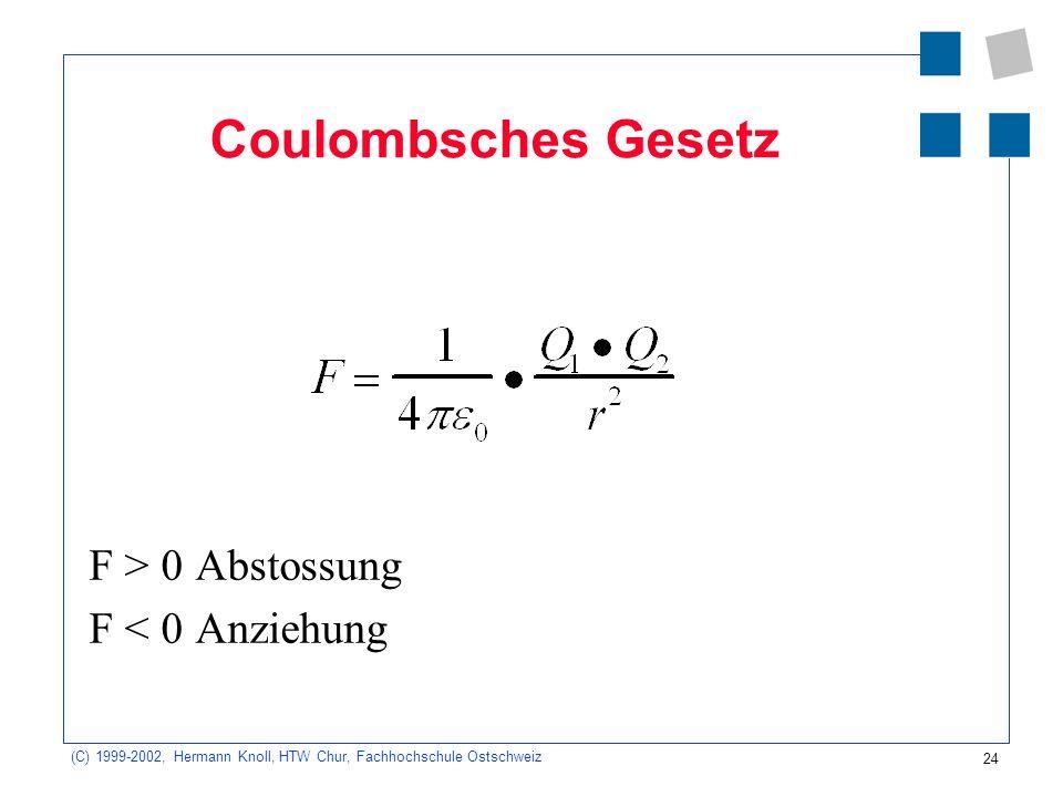 Coulombsches Gesetz F > 0 Abstossung F < 0 Anziehung