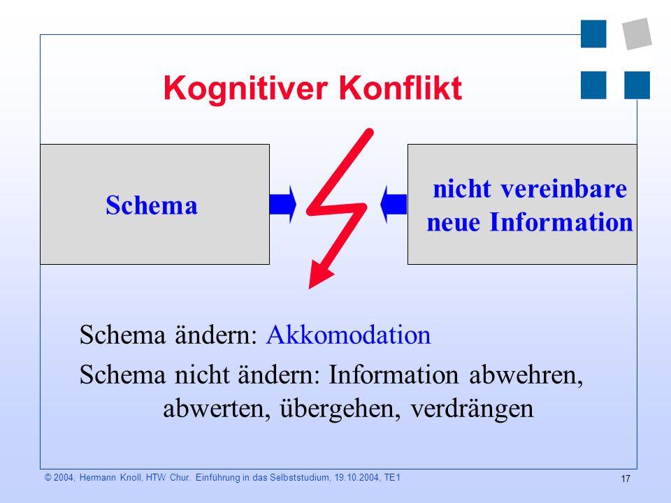 Kognitiver Konflikt Schema nicht vereinbare neue Information