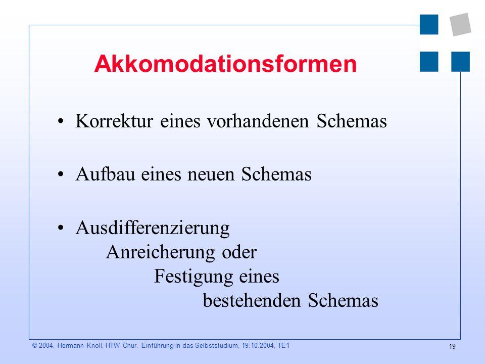 Akkomodationsformen Korrektur eines vorhandenen Schemas
